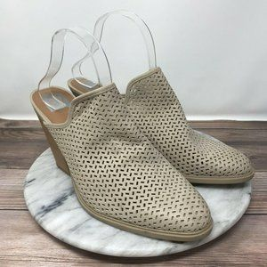 Dolce Vita Kenli Beige Perforated Stacked Mules